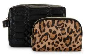 2434a5a9b2bc5 Aimee Kestenberg 2-Piece Leather Cosmetic Bag   Leopard-Print Pouch Set