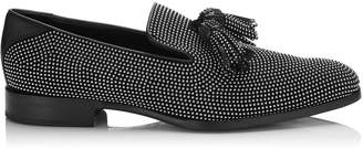 Jimmy Choo FOXLEY Steel Micro Studded Black Leather Tasselled Slippers