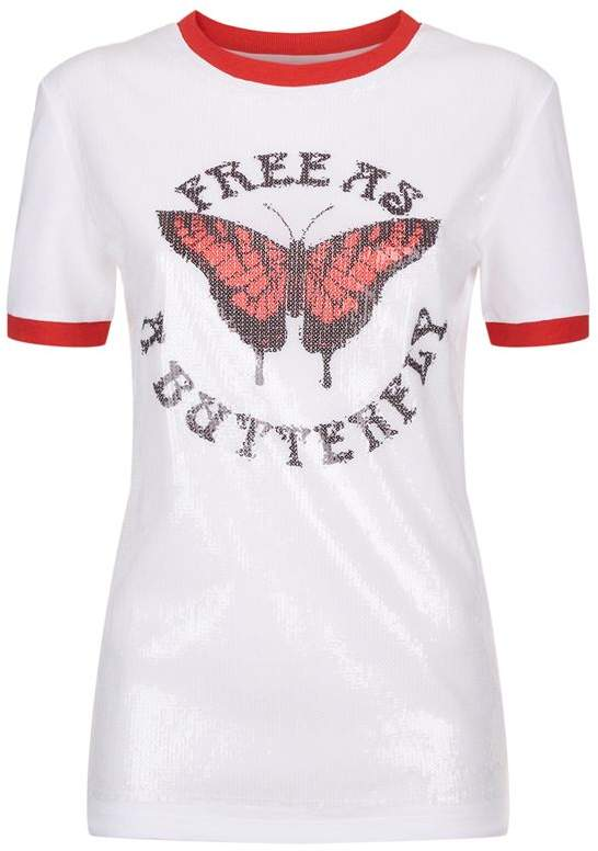 Off-White Sequin Butterfly T-Shirt