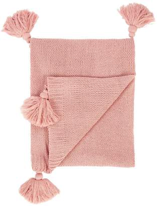 Catherine Lansfield Bianca Tasseled Knit Throw
