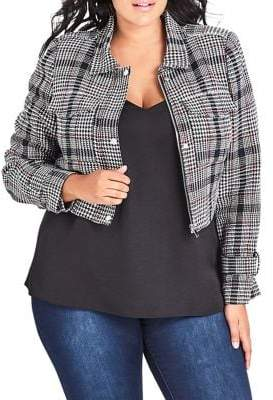 City Chic Plus London Checkered Jacket
