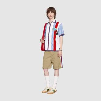 Gucci Oxford bowling shirt with patches