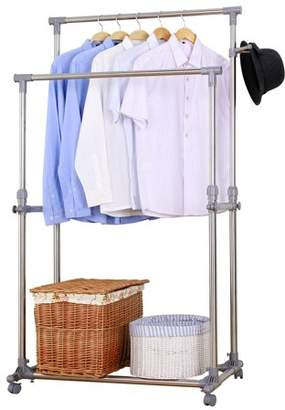 Mllieroo Adjustable 34'' Double Rail Rolling Garment Rack Heavy Duty Clothing Rack With Wheels