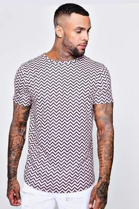 boohoo Printed Rib Longline Curved Hem T-Shirt