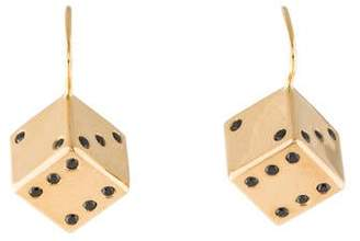Alison Lou 14K Large Dice Drop Earrings