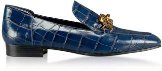 Tory Burch Jessa Royal Navy Croco Embossed Leather Loafers w/Goldtone Horse Hardware