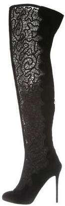 Nicholas Kirkwood Suede Embroidered Thigh-High Boots