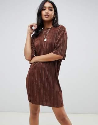 Asos Design DESIGN mini t-shirt dress in plisse