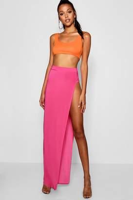 boohoo Tall Thigh High Split Maxi Skirt