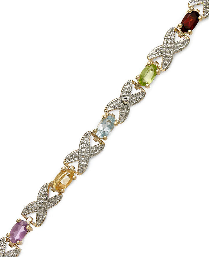 Townsend Victoria 18k Gold over Sterling Silver Bracelet, Multi Stone (3-1/5 ct. t.w.) and Diamond Accent Xo Bracelet