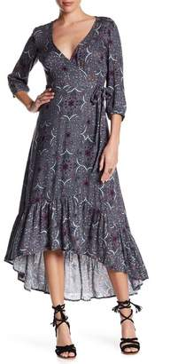 Love Stitch Floral Wrap Midi Dress