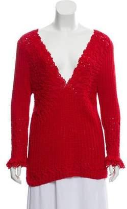 Oscar de la Renta Long Sleeve Knit Sweater