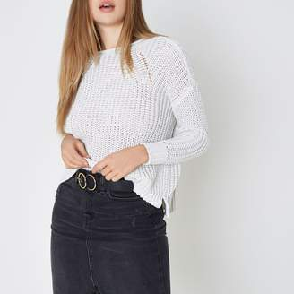 River Island Womens White fisherman rolled crew neck jumper