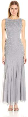 Adrianna Papell Women's Boat Neck Gown with Pearl Beads
