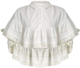 REDVALENTINO Frill-detail cotton blouse $348 thestylecure.com