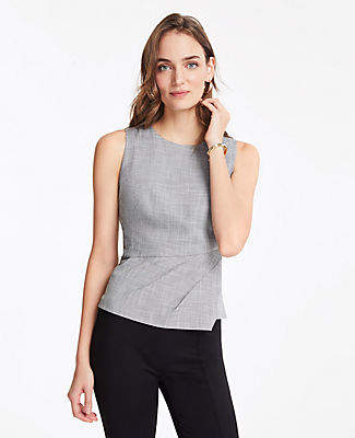 Ann Taylor The Pleated Top in Crosshatch