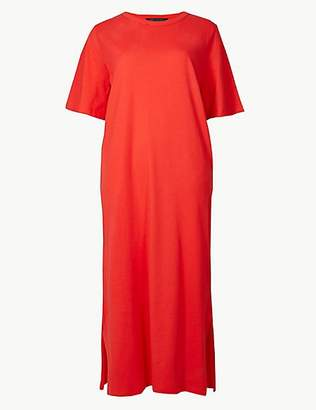 M&S Collection Pure Cotton Short Sleeve Shift Midi Dress