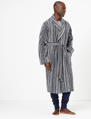Marks and Spencer Supersoft Cotton Striped Dressing Gown