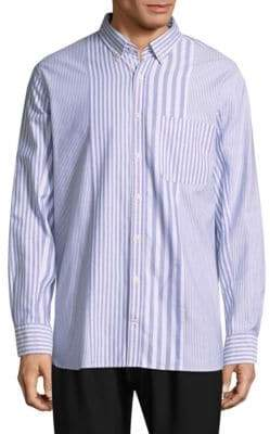 Tommy Hilfiger Stripe-Block Cotton Button-Down Shirt