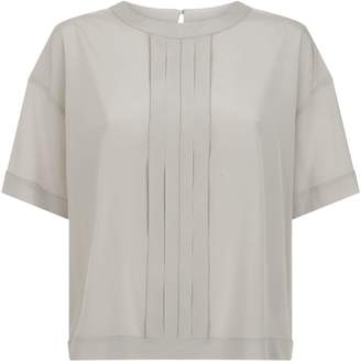 Peserico Satin Pleated Trim Blouse