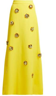DELPOZO Flower Embellished Maxi Skirt - Womens - Yellow