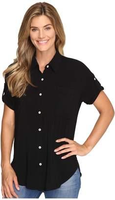 Allen Allen Tab Sleeve Button Front Shirt Women's Short Sleeve Button Up