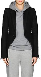 Rick Owens Women's Classic Linen-Camel Hair Short One-Button Blazer - Black