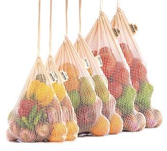 Reusable Mesh Produce Bags - Organic Cotton Vegetable Bags - Mesh Produce Bag - Mesh Vegetable Storage Bags - Veggie Bags - Cotton Potato Bag - Toy Bag - Reusable Grocery Bags - Set of 6 (2 of M