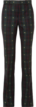 Gucci Embroidered Checked Wool Flared Pants - Dark green