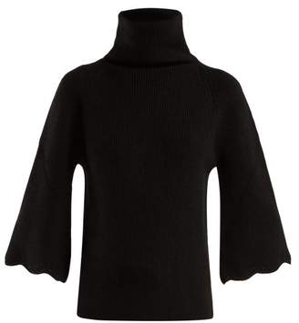 RED Valentino Roll Neck Scalloped Cuff Wool Sweater - Womens - Black