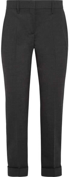 Prada - Cropped Stretch-wool Slim-leg Pants - Gray