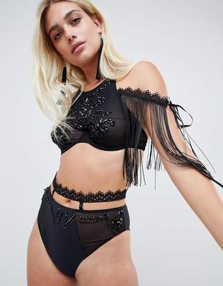 Asos (エイソス) - ASOS DESIGN embellished mesh & lace halter underwire bra