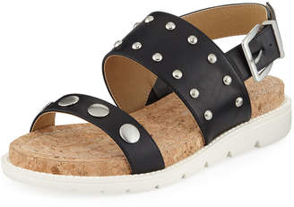 Adrienne Vittadini Perry Studded Sport Sandals, Black