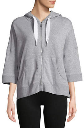 Calvin Klein Three-Quarter Sleeve Zip-Up Hoodie