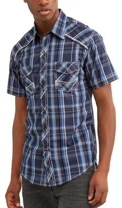 Plains Mens Short Sleeve Textured Plaids With Accent Stitch