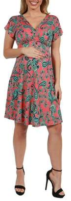 24/7 Comfort Apparel Allie Short Sleeve Empire Waist Maternity Mini Dress