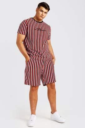 BoohoomanBoohooMAN Mens Red Big & Tall MAN Velour Stripe Set, Red