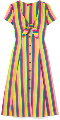 DAY Birger et Mikkelsen STAUD - Alice Tie-front Striped Stretch-cotton Poplin Dress - Pink