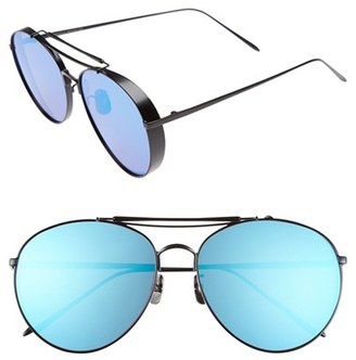 Women's Gentle Monster 60Mm Aviator Sunglasses - Matte Silver/ Blue Mirror $305 thestylecure.com