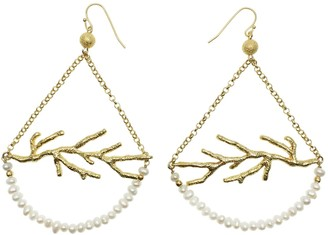 Farra Freshwater Pearls With Fine Gold Plated Brass Hook Earrings