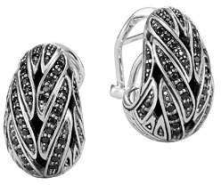 John Hardy Sterling Silver Classic Chain Buddha Belly Earrings with Black Sapphire & Black Spinel