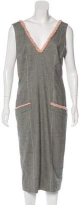 John Galliano Houndstooth Midi Dress