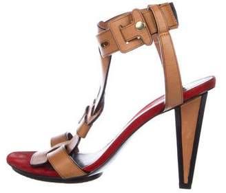 Diane von Furstenberg Leather T-Strap Sandals