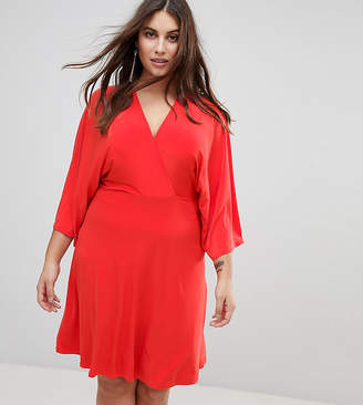 Club L Plus Flutter Sleeve Dress With Midi Skater Skirt