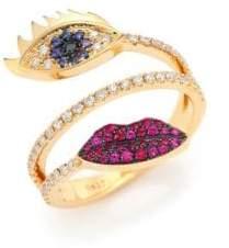 Delfina Delettrez Marry Me Blue Sapphire, Diamond, Rubies& 18K Yellow Gold Eyes& Lips Ring