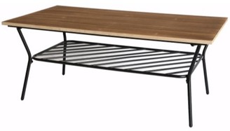 Uniquewise Wood and Metal Coffee Table with Storage Shelf, Great Coffee Table for Living Room