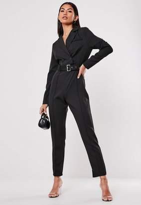 Missguided Black Blazer Style Wrap Front Straight Leg Romper