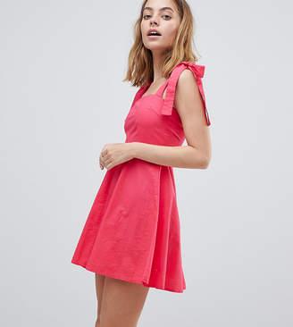 Vero Moda Petite petite mini skater dress with tie sleeves in pink