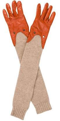 Diane von Furstenberg Leather Long Gloves
