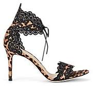 Gianvito Rossi Women's Leopard-Print Satin & Lace Sandals - Brown